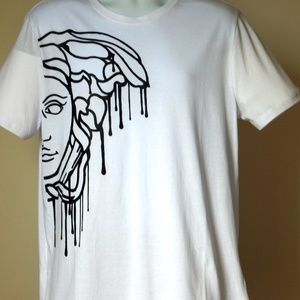 VERSACE COLLECTION MEDUSA HEAD GRAPHIC WHT T SHIRT